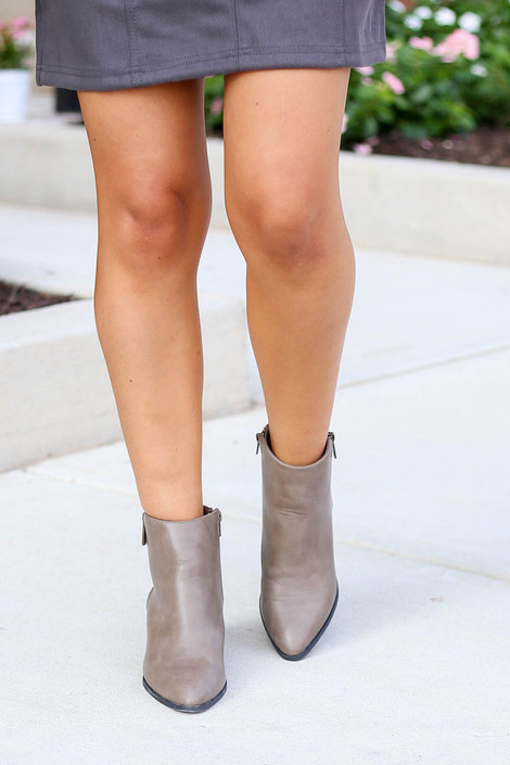 Taupe - Pointed Toe Block Heel Booties Front View