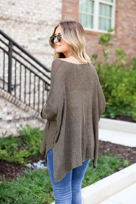 Model wearing Olive Oversized Open Knit Sweater Back View