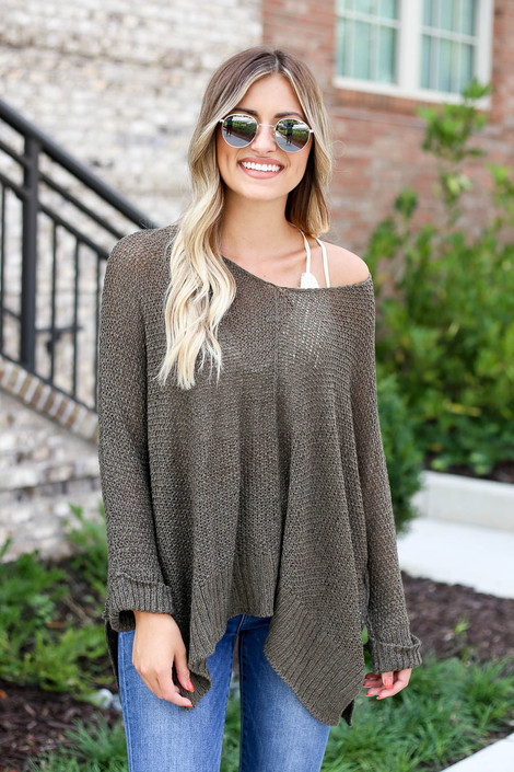Model wearing Olive Oversized Open Knit Sweater Front View