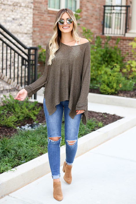 Model wearing Olive Oversized Open Knit Sweater Full View