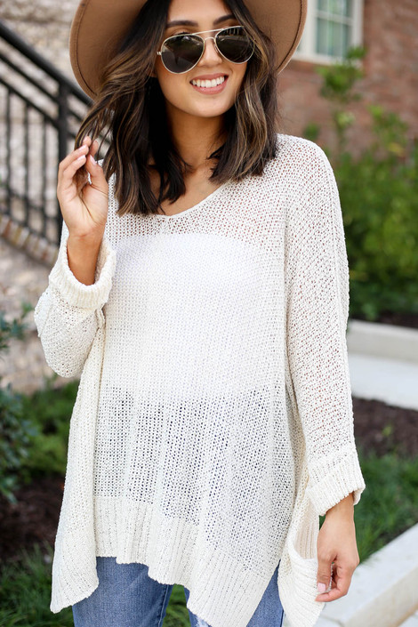 Ivory - Open Knit Oversized Sweater