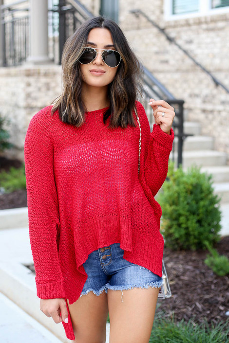 Model wearing Red Oversized Open Knit Sweater Front View