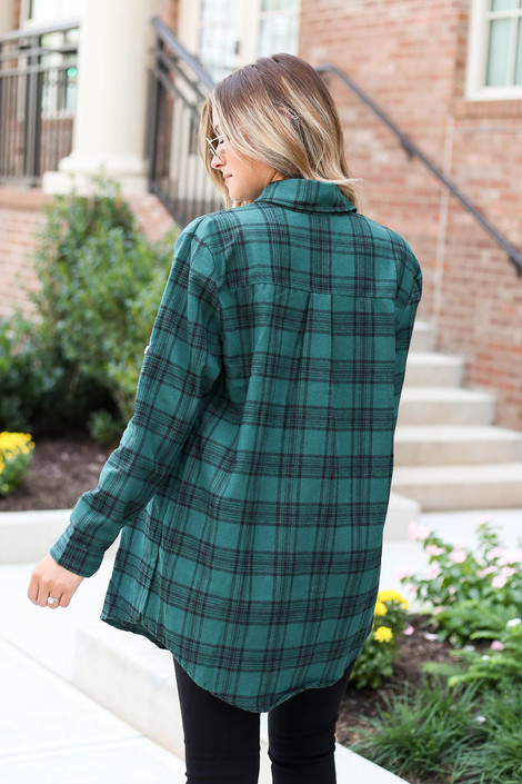 Model wearing Green and Black Longline Flannel Back View