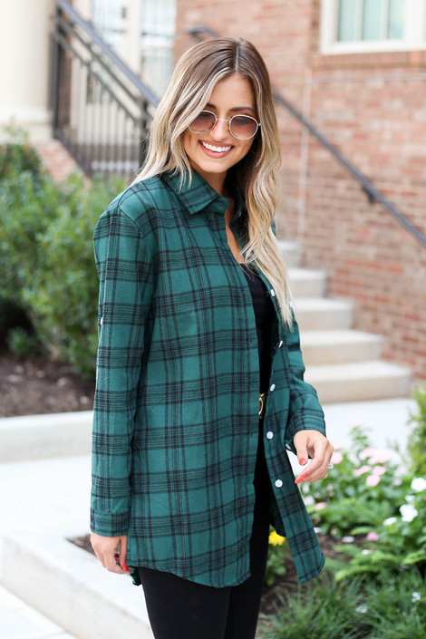 Green - Longline Flannel Side View