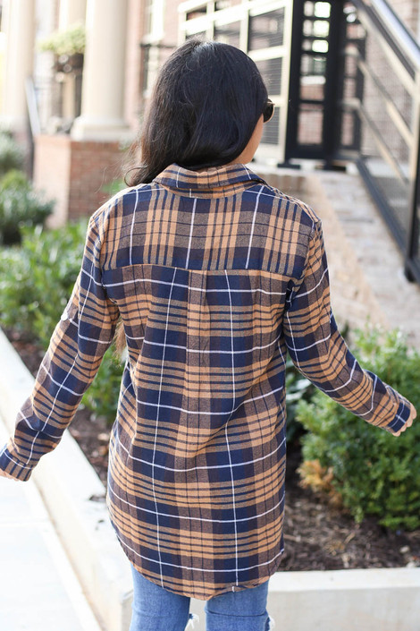 Model wearing Navy + Mustard Oversized Plaid Flannel Back View