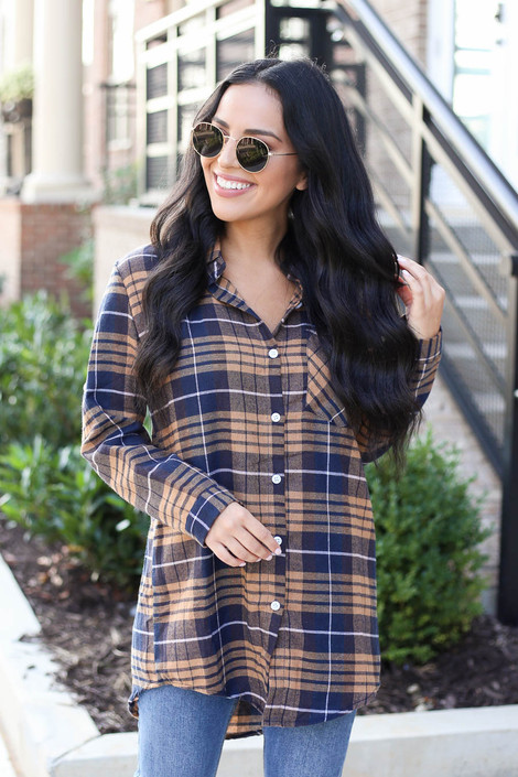 Mustard - Oversized Plaid Flannel