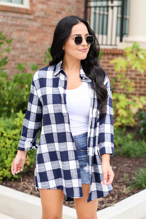 Navy - and White Plaid Oversized Flannel