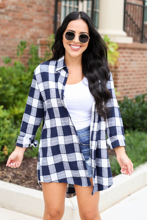 Model wearing Blue and White Plaid Oversized Flannel Front View