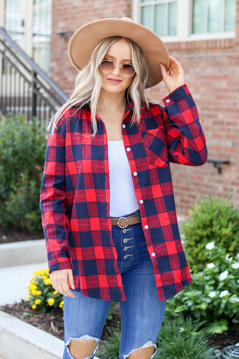Red - Plaid Button Up Flannel