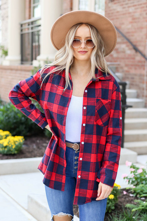 Model wearing Red Plaid Button Up Flannel Open Front