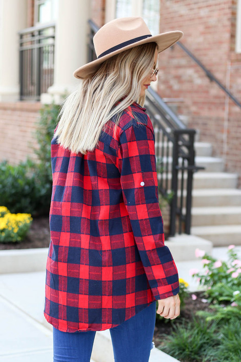 Model wearing Red Plaid Button Up Flannel Back View