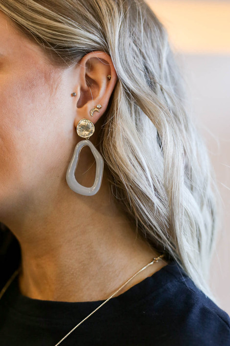 Grey - Abstract Acrylic Earrings with Gold Nugget Stud on Model