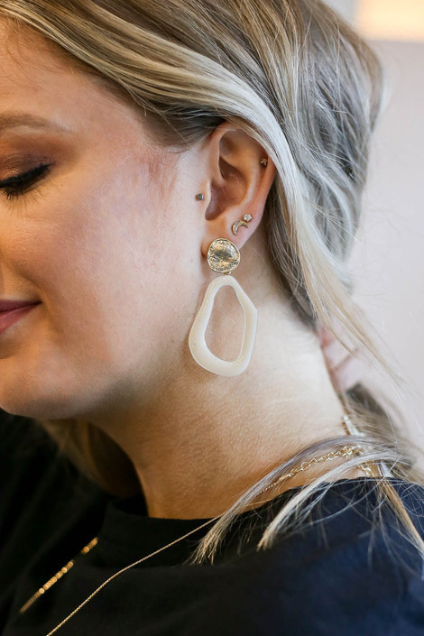 Ivory - Abstract Acrylic Earrings with Gold Nugget Stud on Model