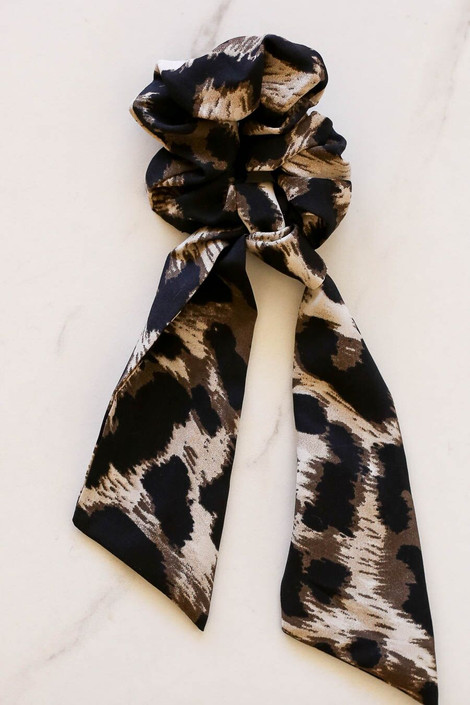 Taupe - leopard print scrunchie scarf flay lay