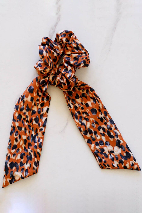 Rust - spotted scrunchie scarf flat lay