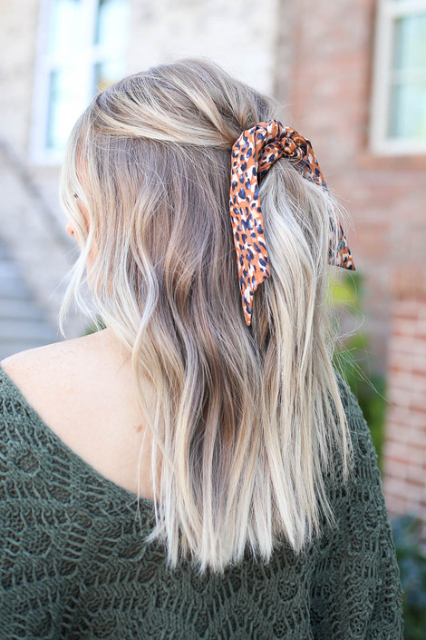 Rust - Spotted Scrunchie Scarf on Model