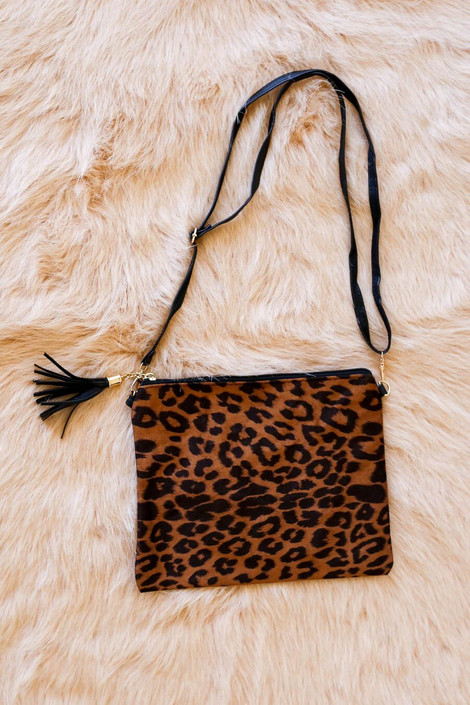 Tan - oversized leopard clutch with crossbody strap