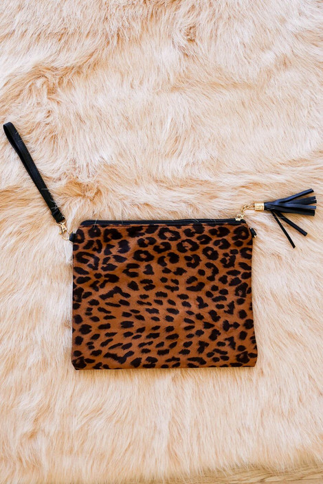 oversized leopard suede clutch with wrist strap