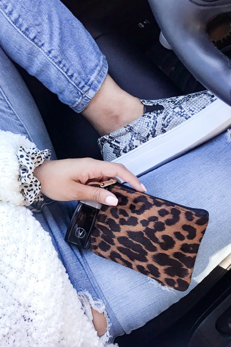 Tan - Leopard Print Keyring Coin Purse