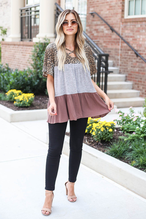 Model wearing Grey Criss Cross Leopard Print Color Block Top from Dress Up Full View