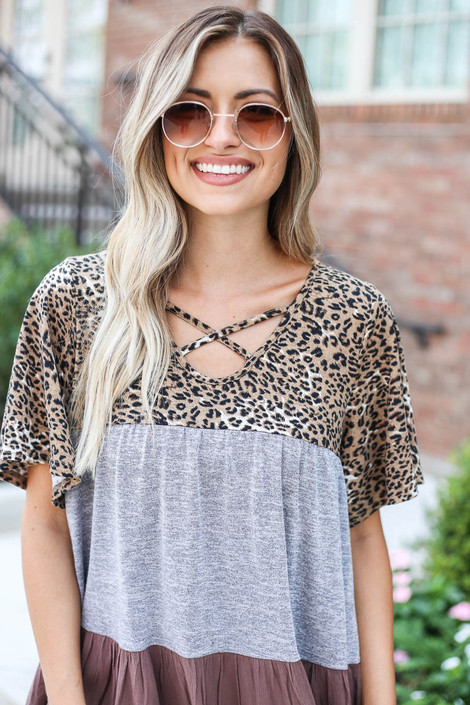 Grey - Criss Cross Leopard Print Color Block Top from Dress Up Detail View