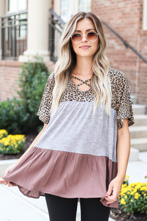 Model wearing Grey Criss Cross Leopard Print Color Block Top from Dress Up