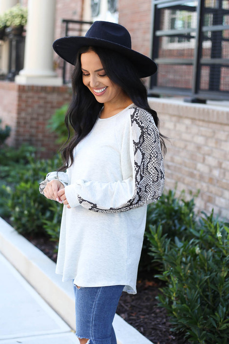 Model wearing Heather Grey Snakeskin Balloon Sleeve Top From Dress Up Side View