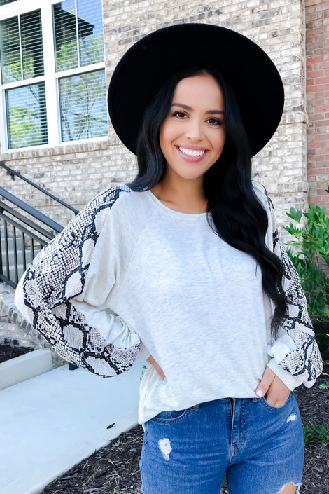 Heather Grey - Snakeskin Balloon Sleeve Top From Dress Up