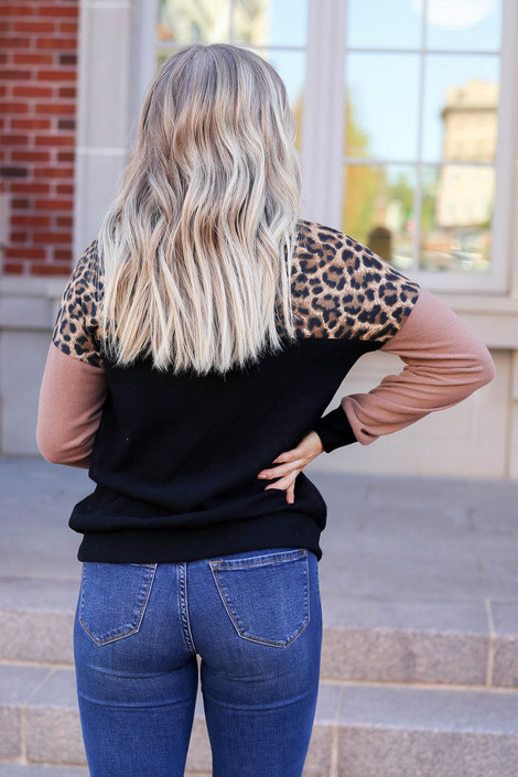 Model wearing Leopard Print Color Block Pullover Back View