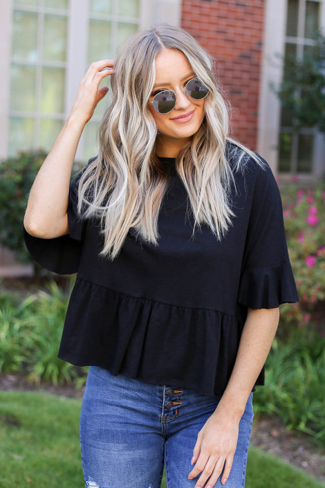 Black - Ruffle Sleeve Babydoll Top from Dress Up