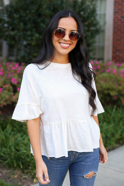 Ivory - Ruffle Sleeve Babydoll Top from Dress Up