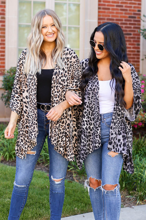 Grey - and Taupe Lightweight Leopard Print Knit Kimono
