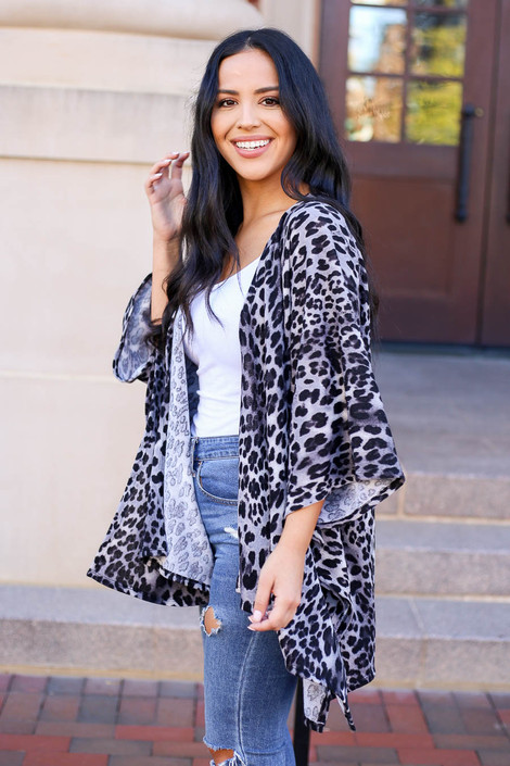 Grey - Lightweight Leopard Print Knit Kimono from Dress Up Side View