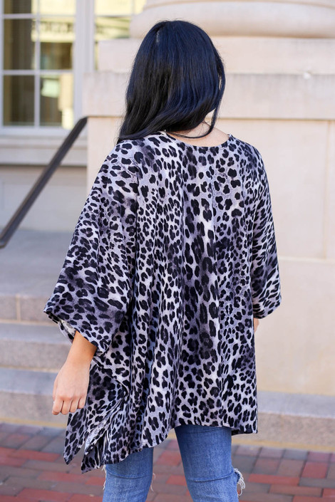 Model wearing Grey Lightweight Leopard Print Knit Kimono from Dress Up Back View