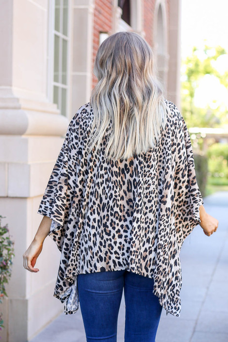 Taupe - Lightweight Leopard Print Knit Kimono from Dress Up Back View