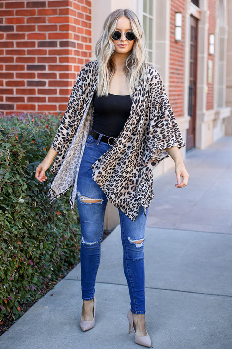 Model wearing Taupe Lightweight Leopard Print Knit Kimono from Dress Up Full View