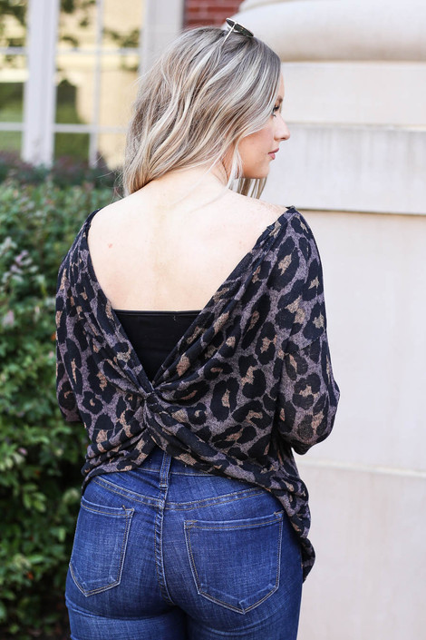 Mocha - Leopard Print Twist Back Knit Top Back View