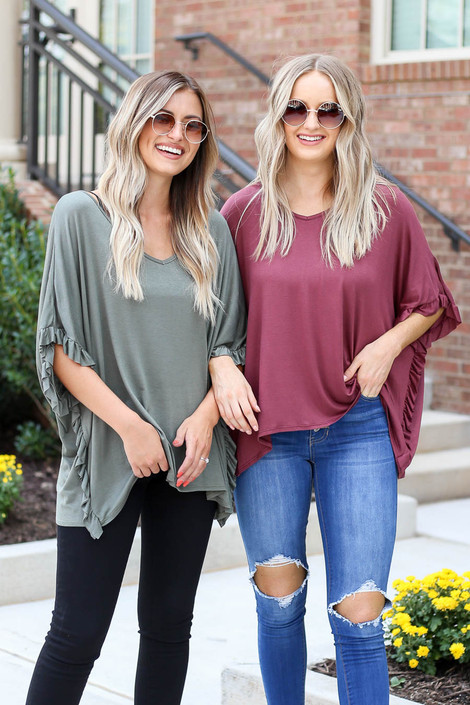 Model wearing Olive and Marsala Oversized Ruffle Tees from Dress Up