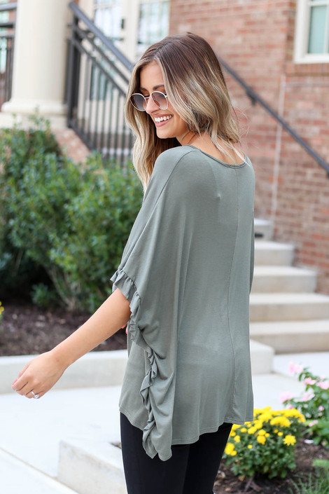 Olive - Oversized Ruffle Tee Side View