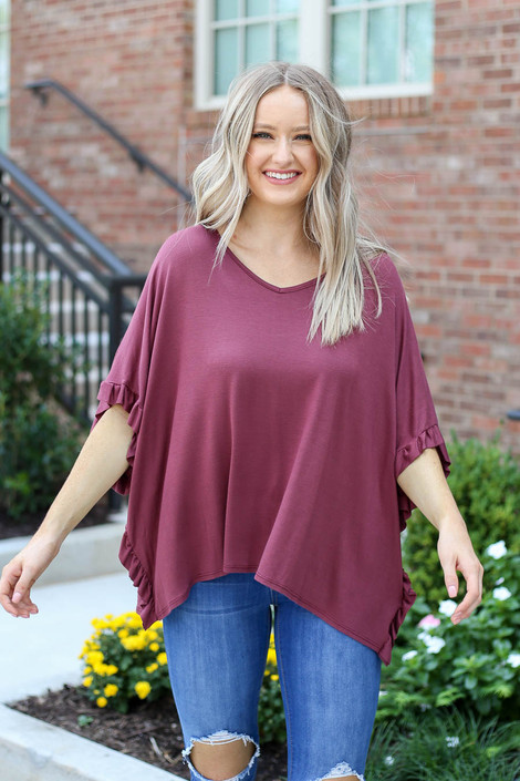 Model wearing Marsala Oversized Ruffle Tee from Dress Up Front View