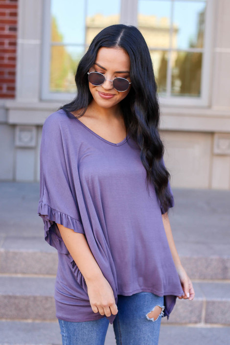 Model wearing Lilac Oversized Ruffle Tee from Dress Up
