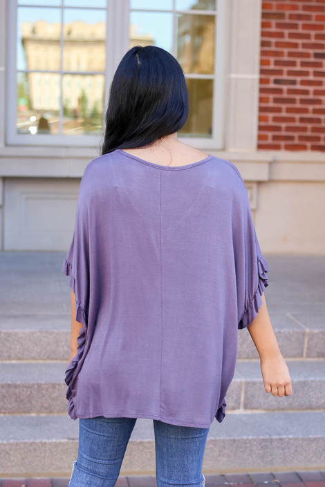 Model wearing Lilac Oversized Ruffle Tee from Dress Up Back View