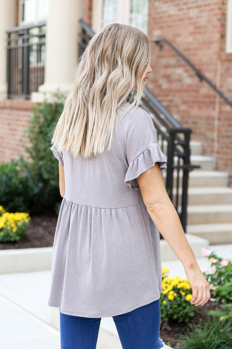 Taupe - Ruffle Sleeve Babydoll Top Back View