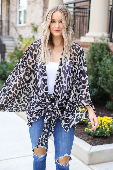 Model wearing Grey Tie-Front Sheer Leopard Print Kimono From Dress Up
