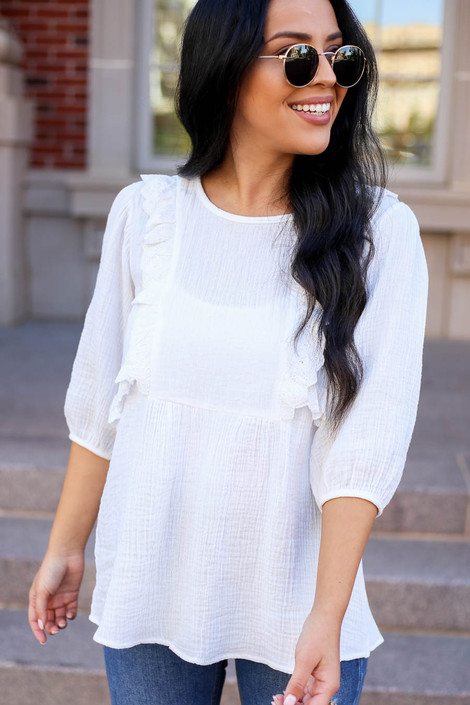 White - Embroidered Ruffle Blouse From Dress Up