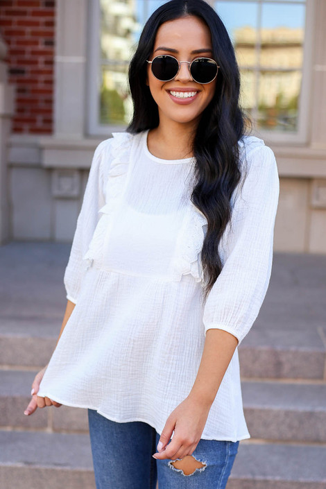 Model wearing White Embroidered Ruffle Blouse From Dress Up Front View