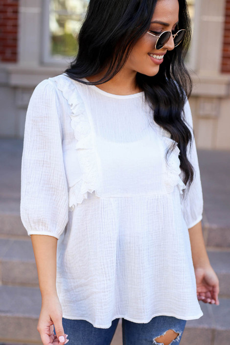 White - Embroidered Ruffle Blouse From Dress Up Detail View
