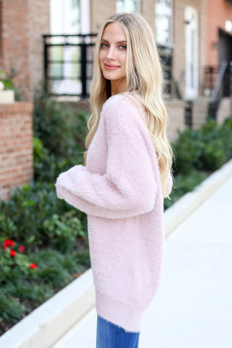 Model wearing Mauve Balloon Sleeve Fuzzy Knit Sweater from Dress Up Side View