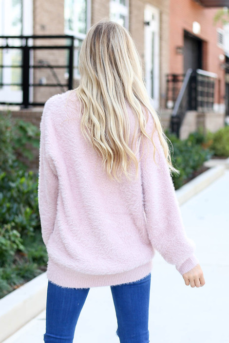 Model wearing Mauve Balloon Sleeve Fuzzy Knit Sweater from Dress Up Back View