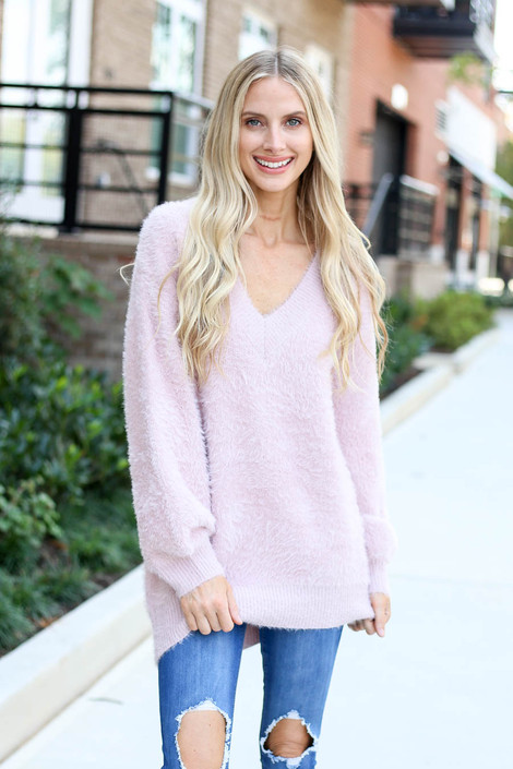 Mauve - Balloon Sleeve Fuzzy Knit Sweater from Dress Up
